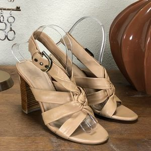 Tan Leather Ankle Strap Block Heel Sandals